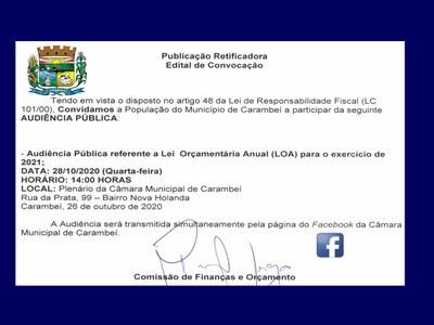 Audiência Pública LOA 2021 (Lei  Orçamentária Anual)