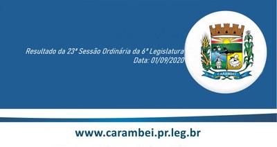 Resultado da 23ª Sessão Ordinária 01/09/2020