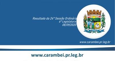 Resultado da 24ª Sessão Ordinária 08/09/2020