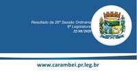 Resultado da 26ª Sessão Ordinária 22/09/2020